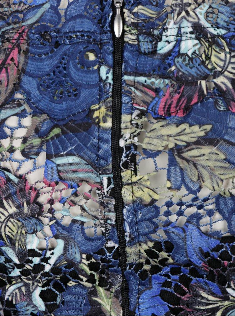 Tmavě modré krajkové šaty s odhalenými rameny Paper Dolls