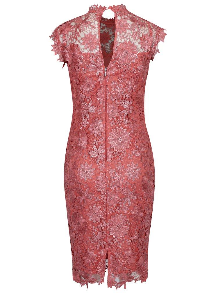 Korálové krajkové šaty Paper Dolls