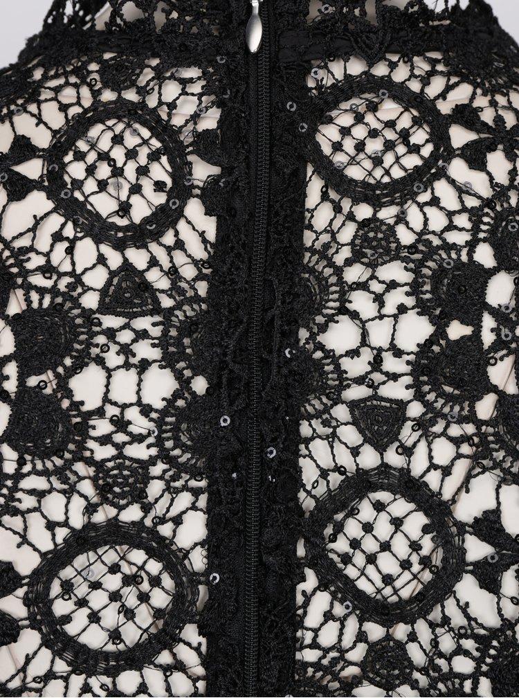 Černé krajkové šaty s 3/4 rukávem Paper Dolls