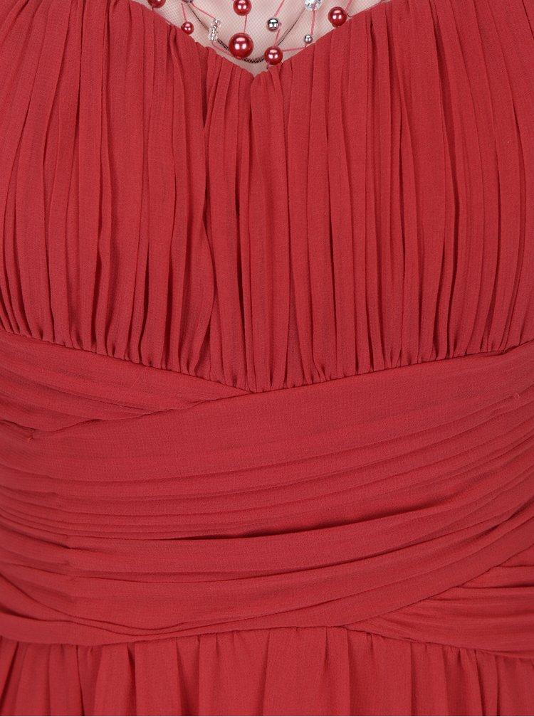 Rochie maxi rosie cu top plisat si aplicatii decorative - Little Mistress