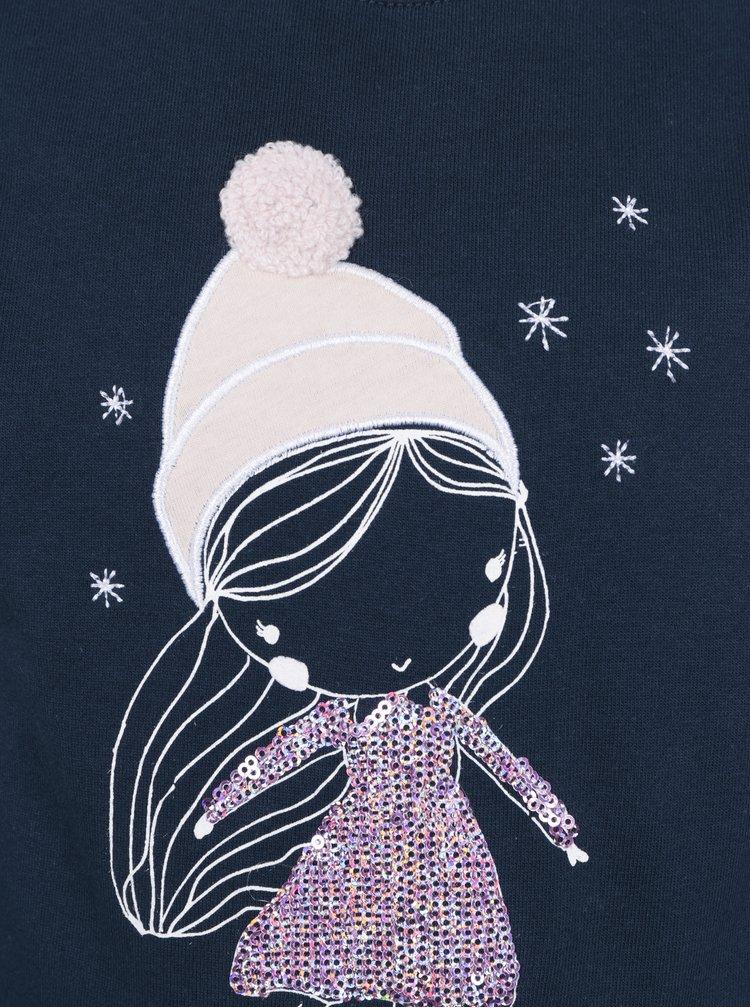 Tmavě modrá holčičí mikina s potiskem dívky Venere