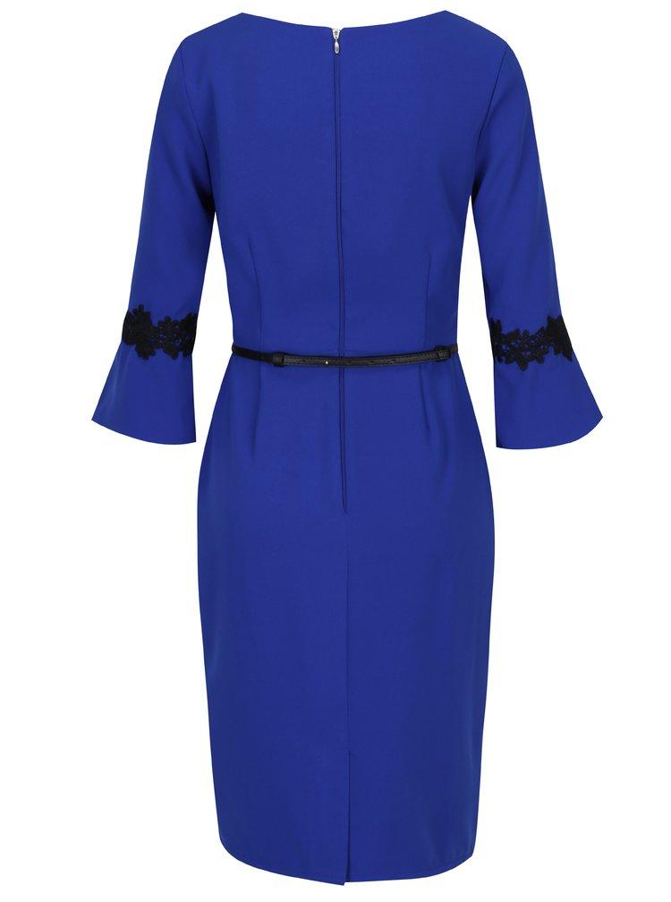 Modré šaty s páskem Paper Dolls