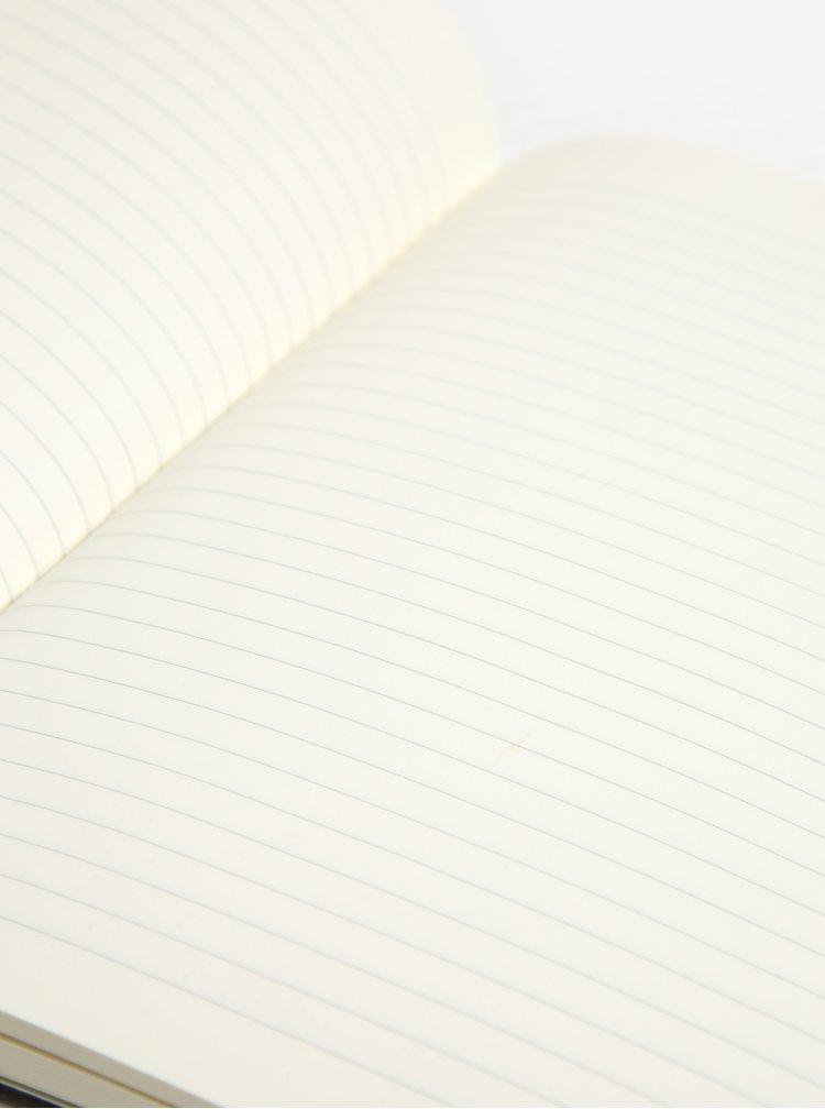 Černý linkovaný zápisník v měkké vazbě Moleskine
