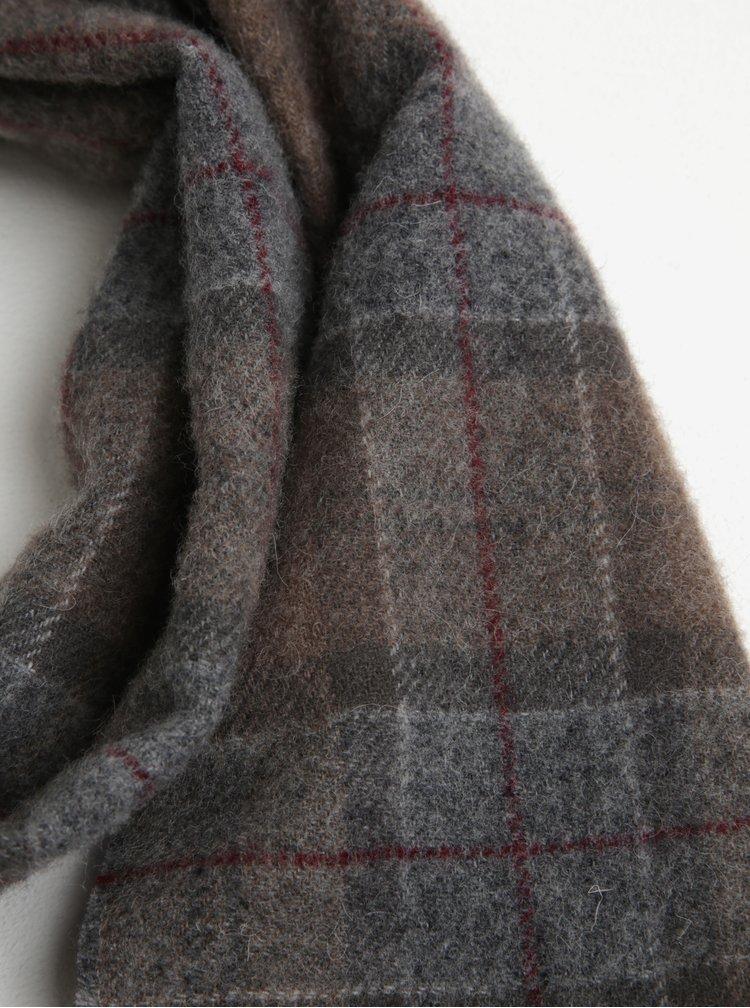 Světle hnědá kostkovaná vlněná šála Winter Barbour Tartan Lambswool