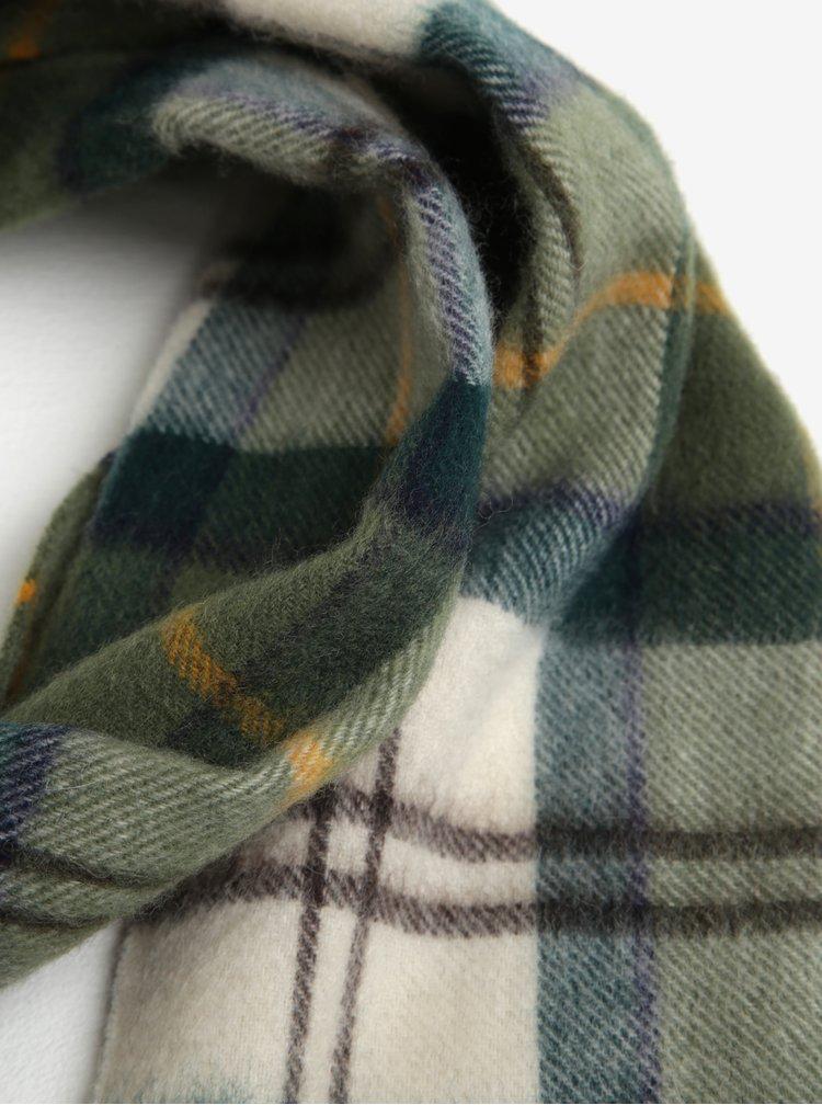 Fular barbatesc verde din lana, carouri si franjuri - Ancient Barbour Tartan Lambswool