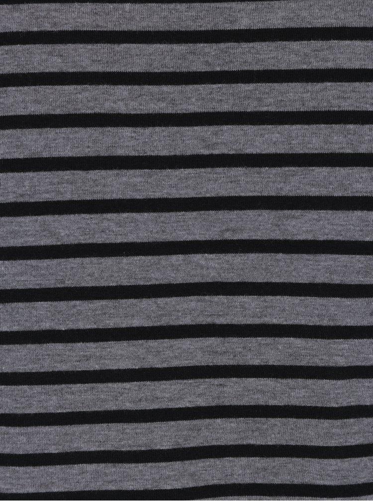 Tricou slim fit gri melanj cu dungi negre - Blend