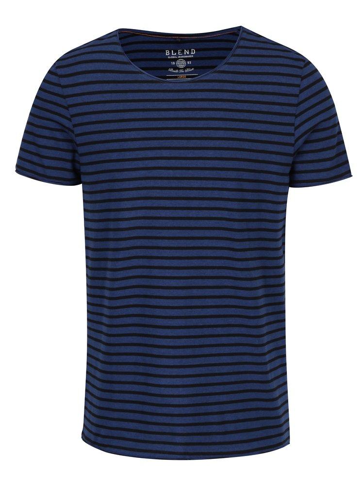 Tricou albastru slim fit cu dungi negre - Blend