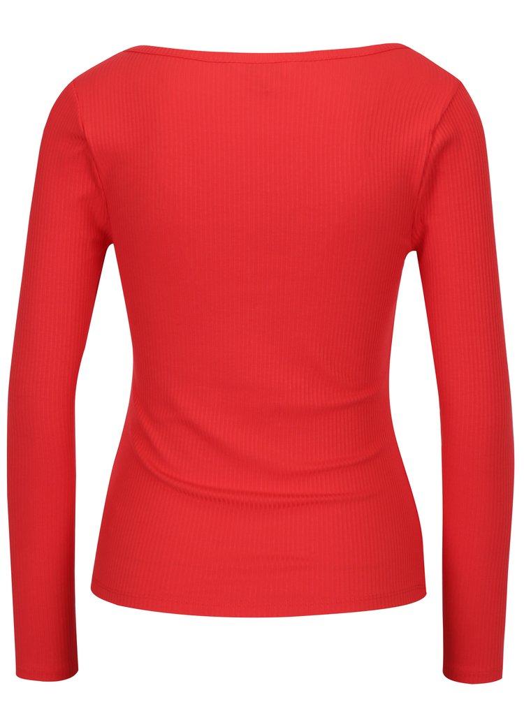 Bluza rosie cu nasturi si dungi in relief Miss Selfridge