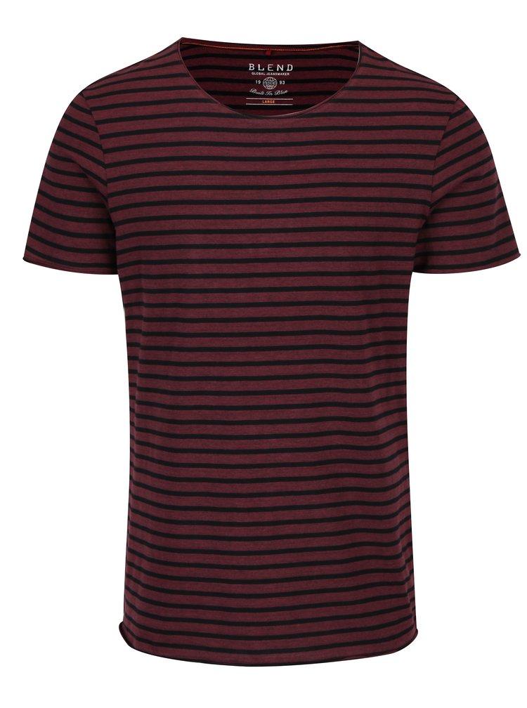 Černo-vínové pruhované slim fit tričko Blend