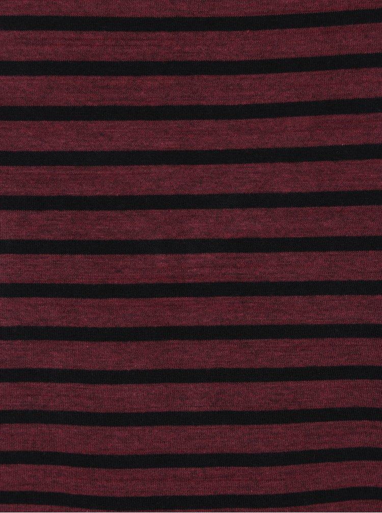 Tricou visiniu slim fit cu dungi negre - Blend