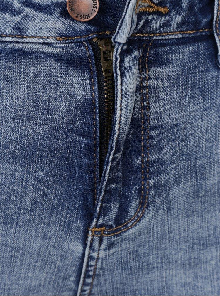 Světle modré zkrácené skinny džíny s vysokým pasem Miss Selfridge