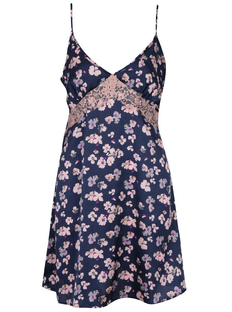 Camasa de noapte bleumarin cu print floral si dantela Dorothy Perkins