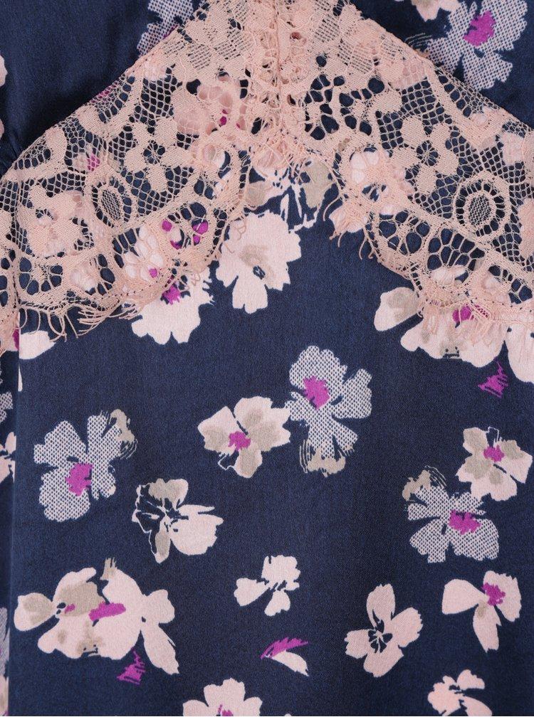 Tmavě modrá květovaná noční košilka Dorothy Perkins
