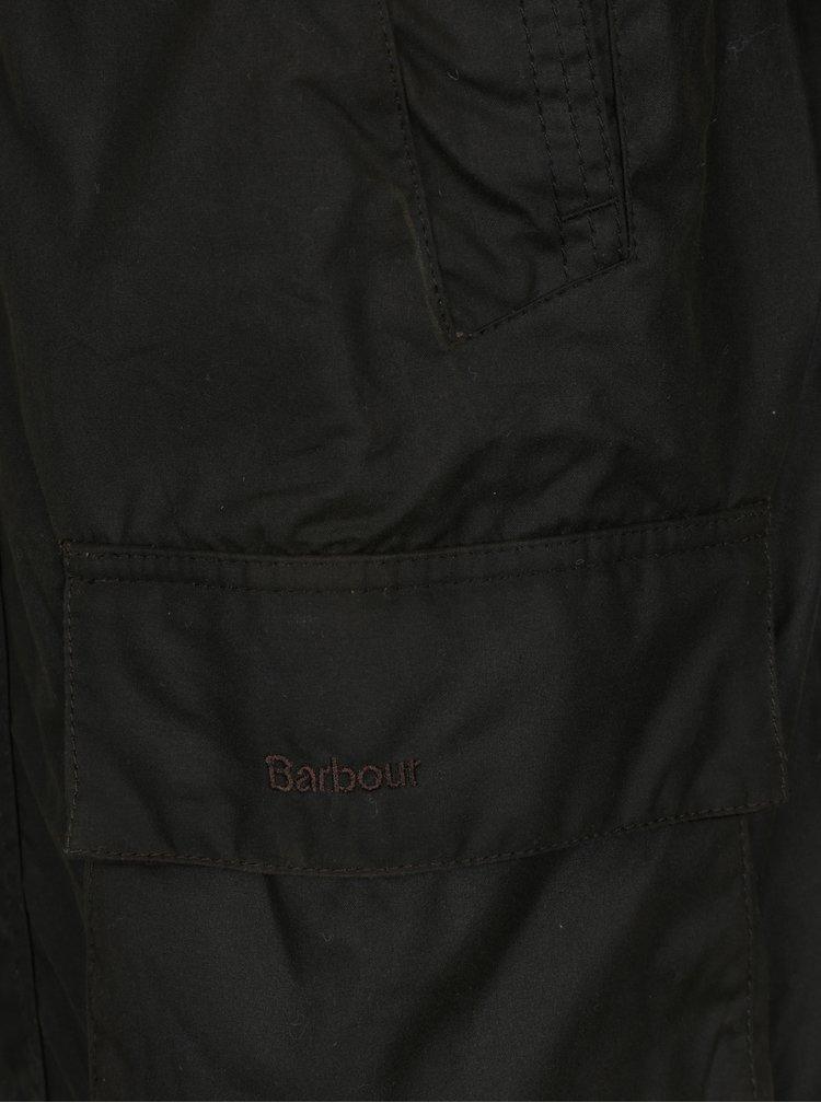 Jacheta verde inchis cu guler raiat Barbour Bristol Wax