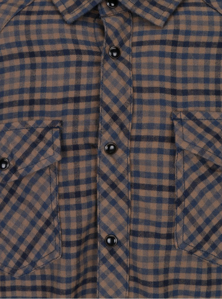 Modro-hnědá kostkovaná slim fit košile Blend