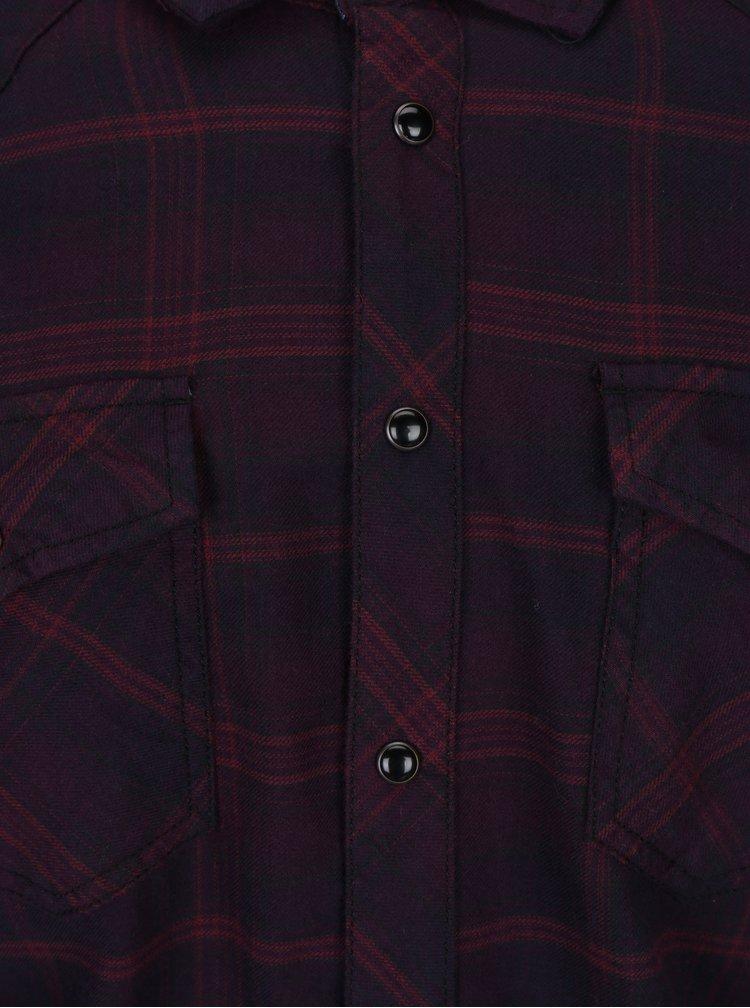 Vínová kostkovaná slim fit košile Blend