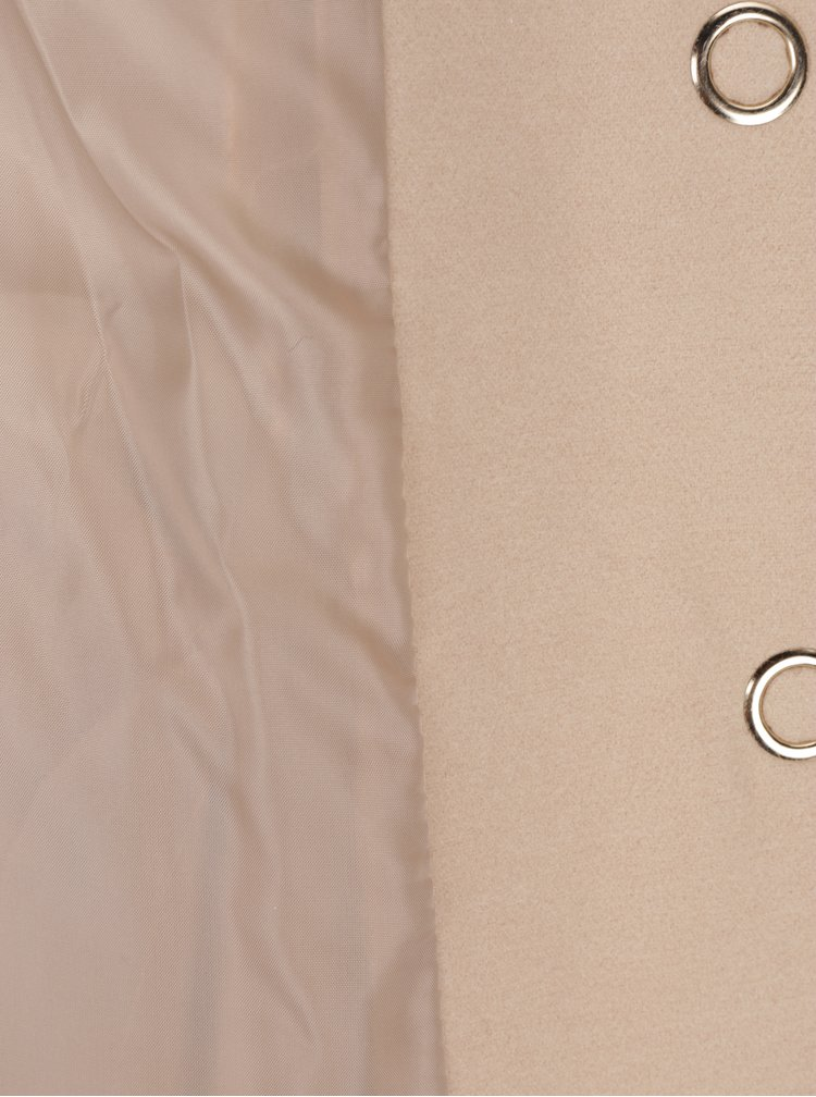Béžový krátký kabát s umělým kožíškem Miss Selfridge Petites