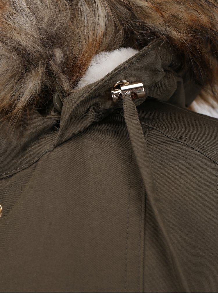 Khaki parka s umělým kožíškem Miss Selfridge Petites