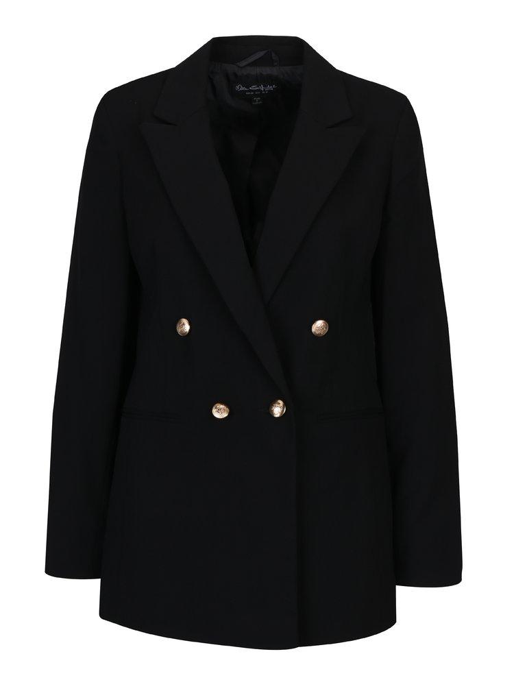 Černé dlouhé sako s knoflíky ve zlaté barvě Miss Selfridge