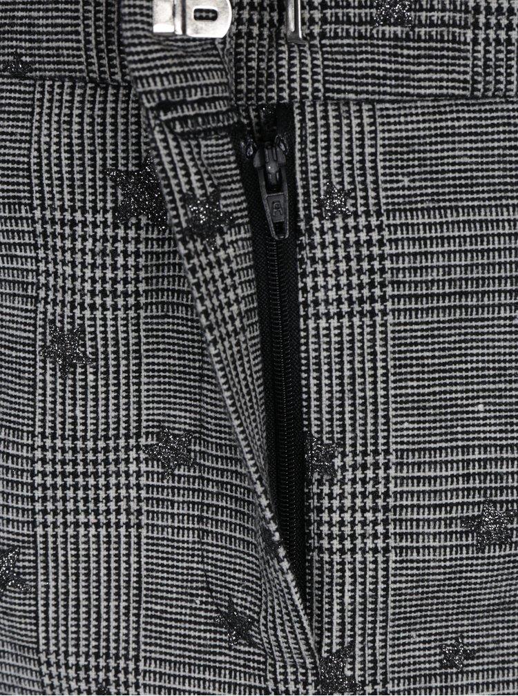 Fusta mini negru&crem cu model houndstooth si stele Miss Selfridge