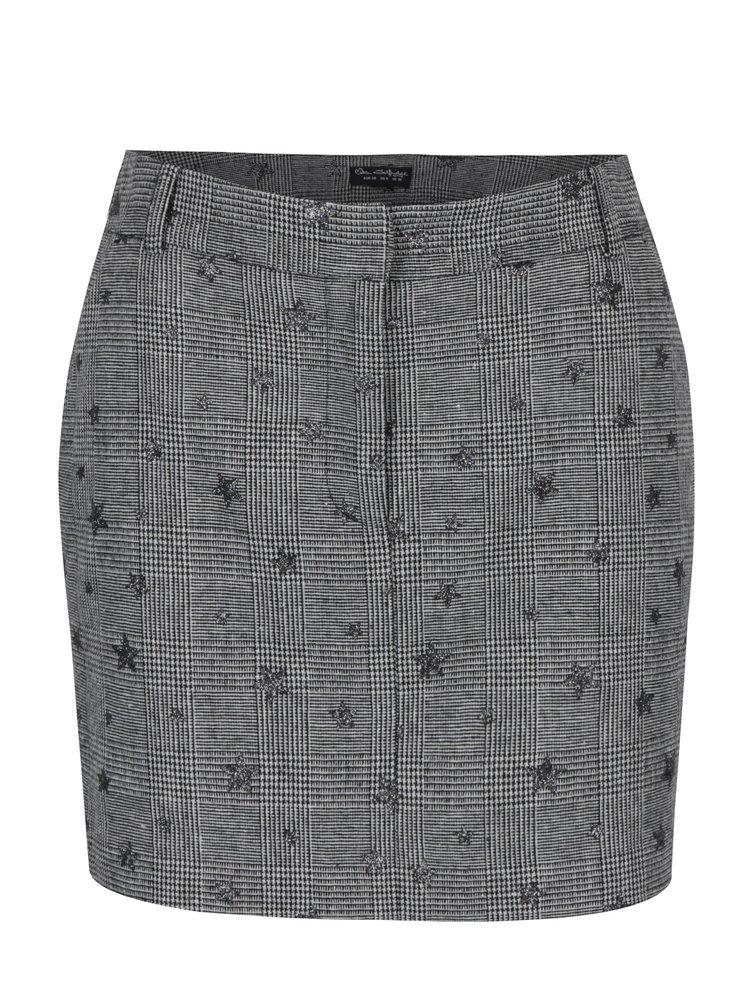Krémovo-černá vzorovaná mini sukně Miss Selfridge