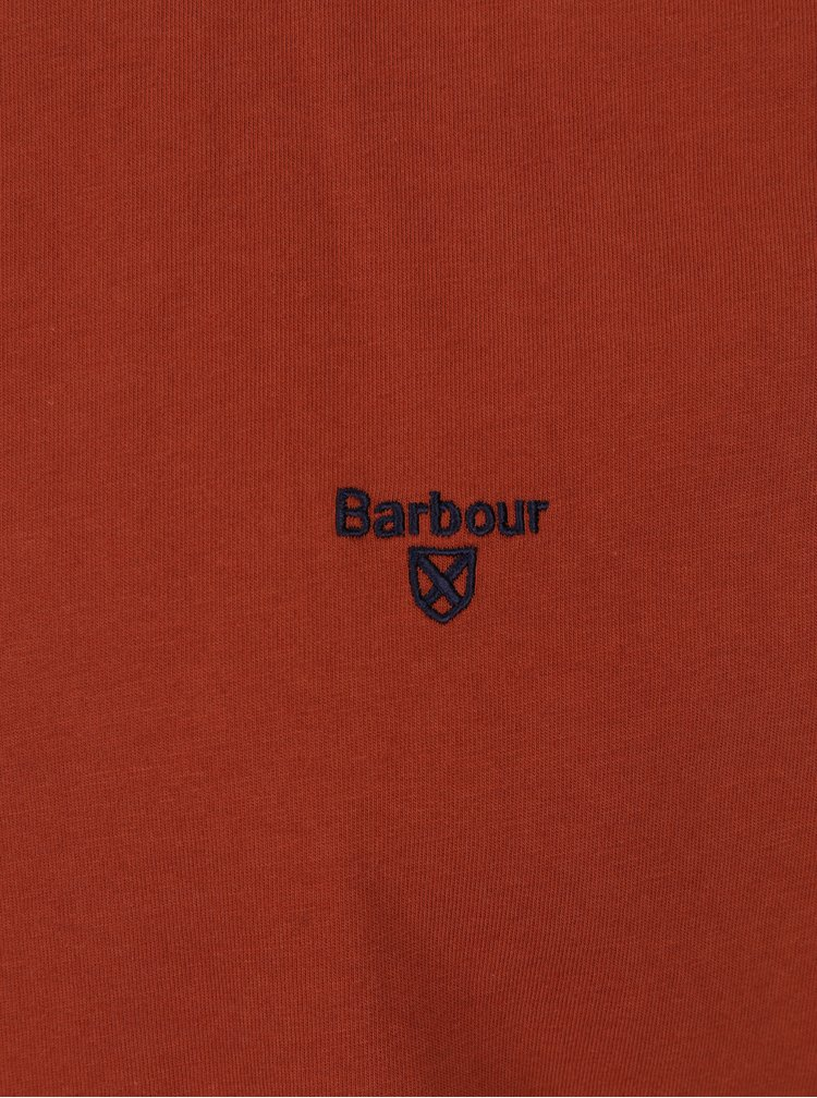 Cihlové tailored fit tričko Barbour Sports Tee