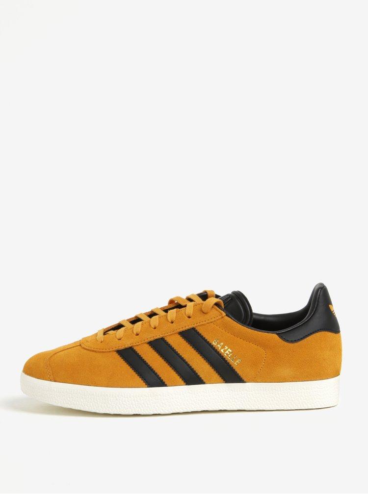 Pantofi sport maro deschis din piele intoarsa pentru barbati - adidas Originals Gazelle