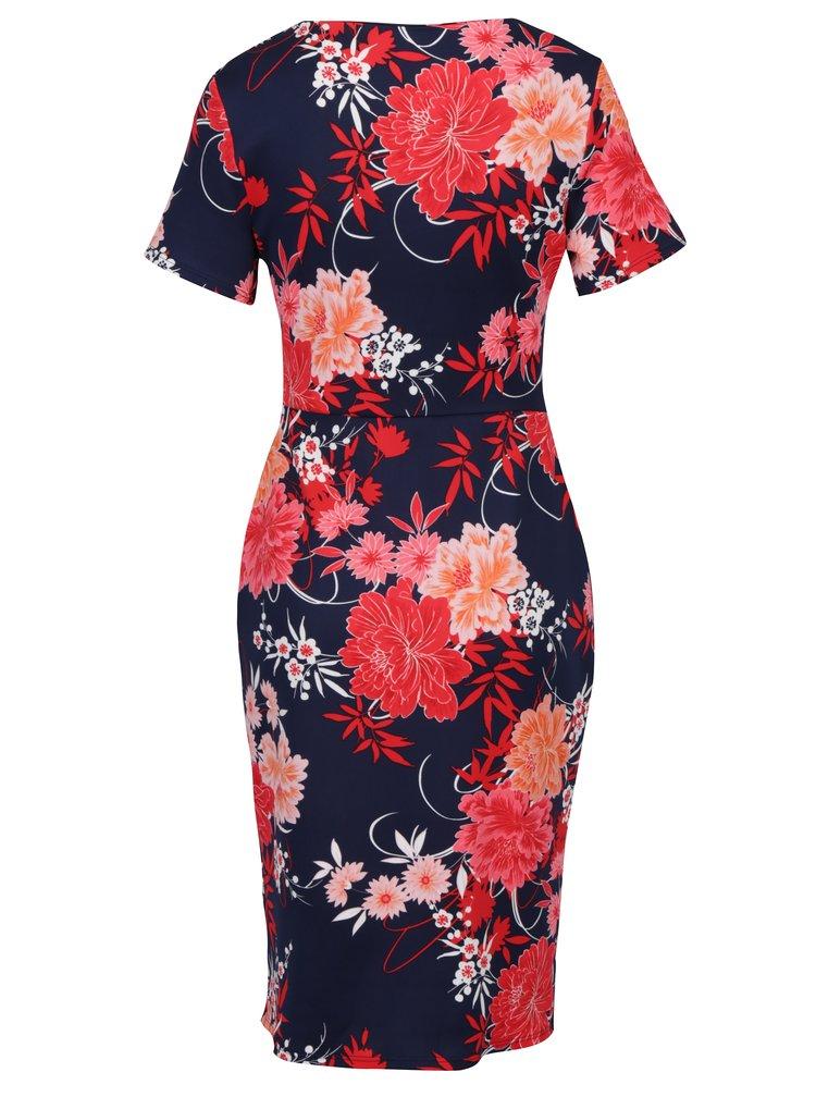 Červeno-modré květované šaty s překládanou sukní Dorothy Perkins