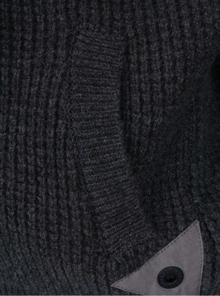 Cardigan gri din lana pentru barbati Barbour Helm