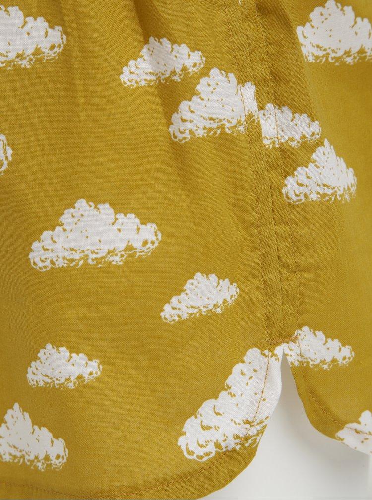 Boxeri galben mustar cu print nori pentru femei - El.Ka Underwear