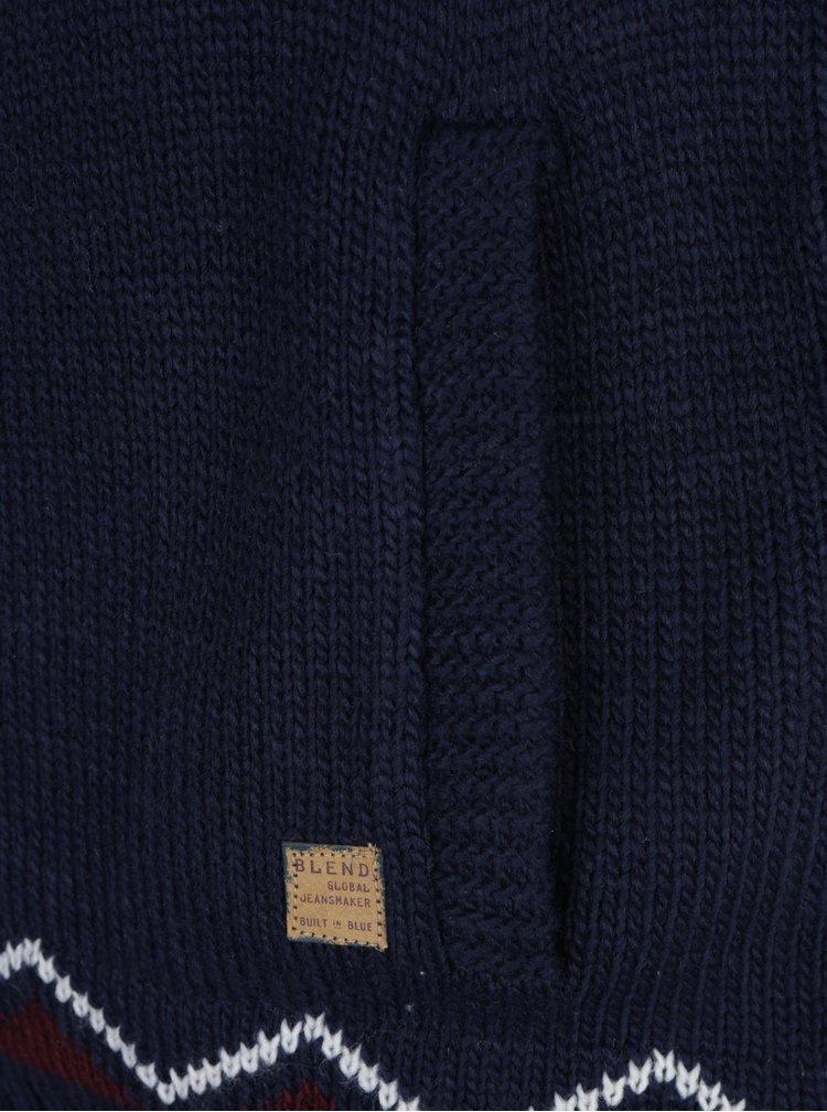 Tmavě modrý vzorovaný kardigan s límcem Blend