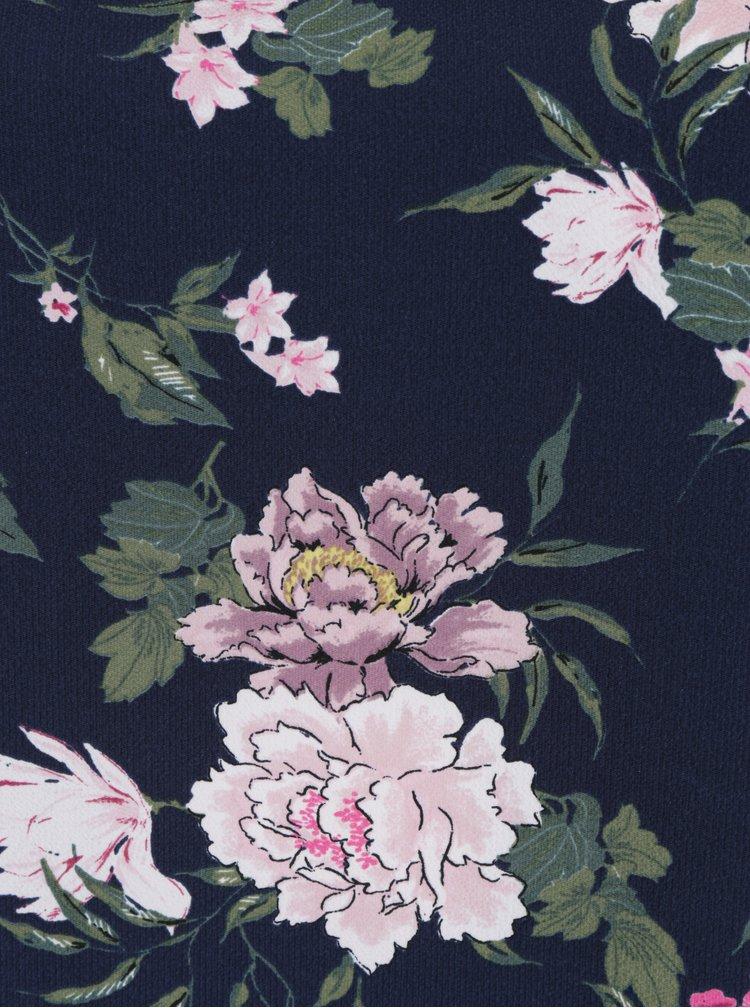 Tmavě modrá květovaná halenka se zvonovými rukávy Dorothy Perkins Curve