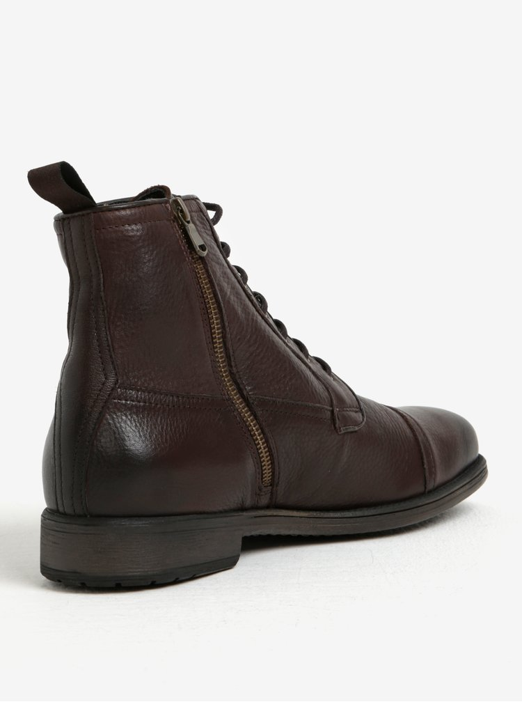 Tmavě hnědé pánské zimní kožené kotníkové boty Geox Jaylon E