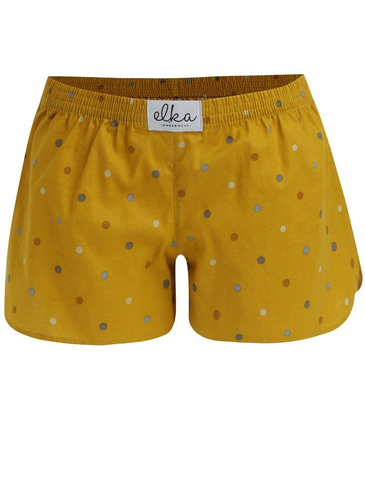 Boxeri galben mustar cu buline - El.Ka Underwear