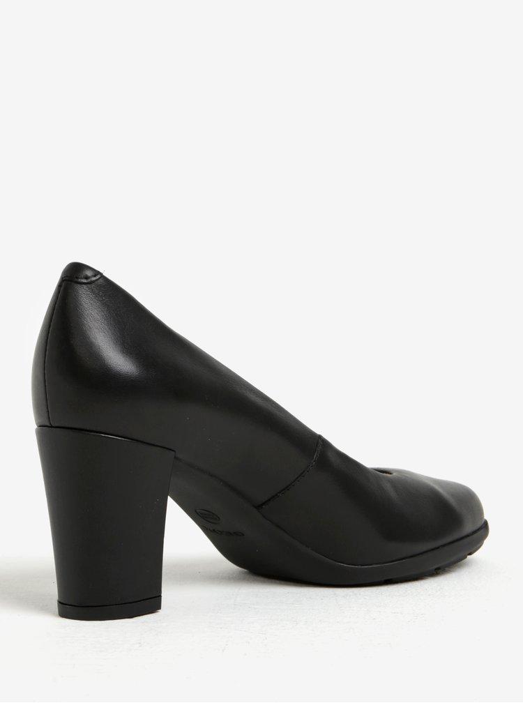 Pantofi negri din piele cu toc patrat Geox Annya