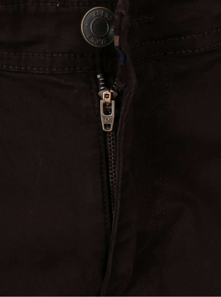 Tmavě hnědé slim fit kalhoty Blend