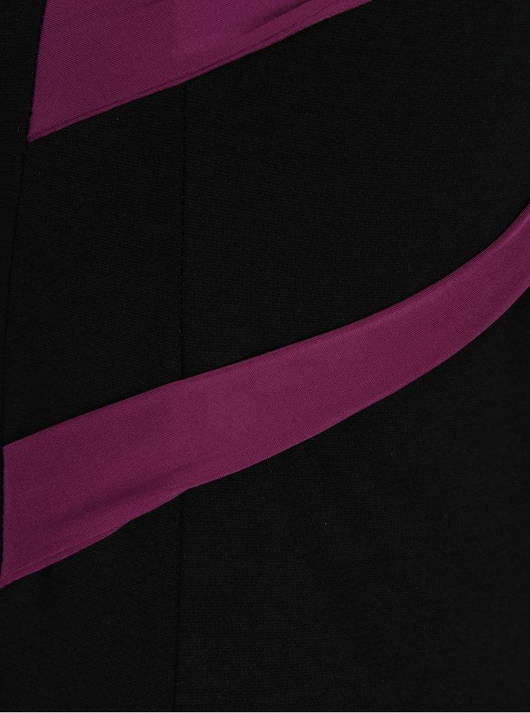 Fialovo-černé pouzdrové šaty s pásky na zádech  ZOOT