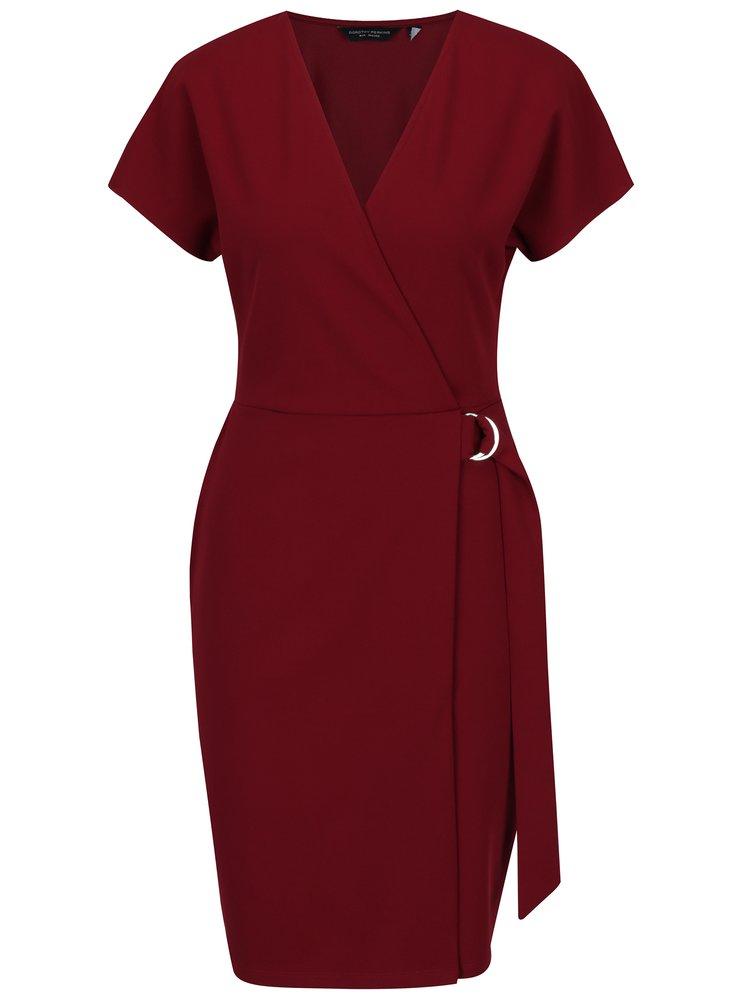 Vínové překládané šaty s páskem a přezkou Dorothy Perkins