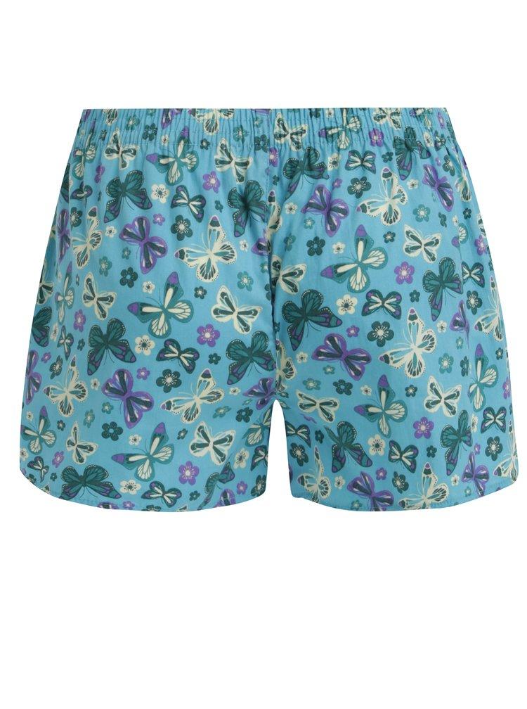 Boxeri albastri cu print fluturi pentru femei -  El.Ka Underwear