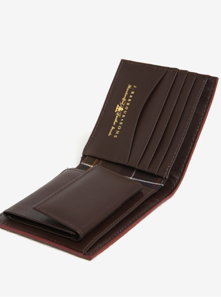 Hnědá kožená peněženka Barbour Grain