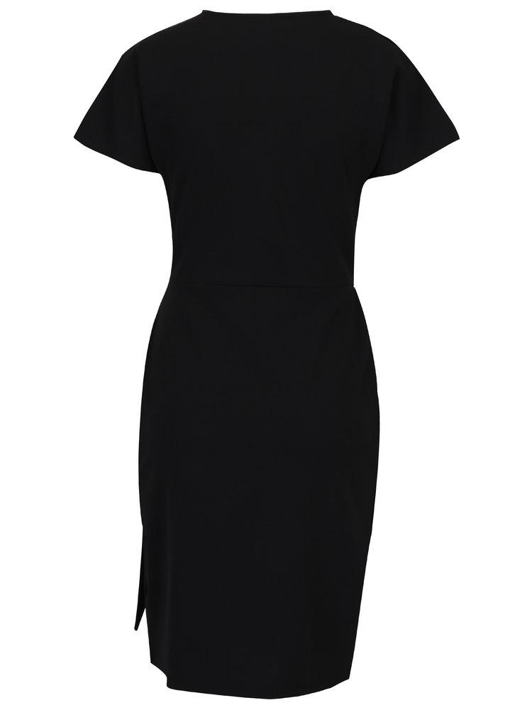 Černé překládané šaty s páskem a přezkou Dorothy Perkins