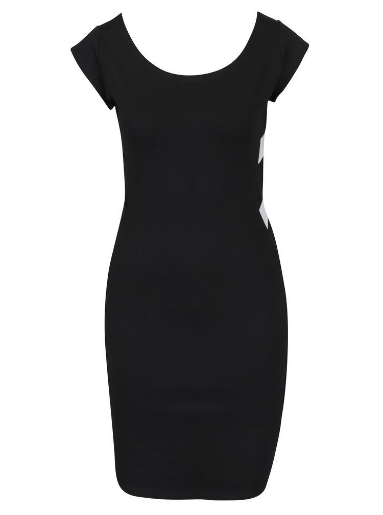 Bílo-černé pouzdrové šaty s pásky na zádech ZOOT