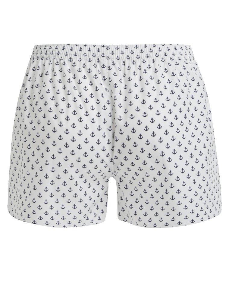 Boxeri albi cu print ancore pentru femei - El.Ka Underwear