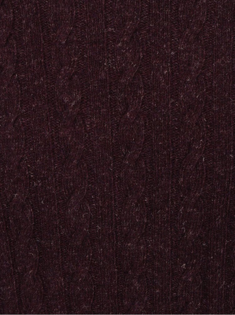 Pulover bordo melanj cu model impletit din amestec de lana Barbour Essential Cable