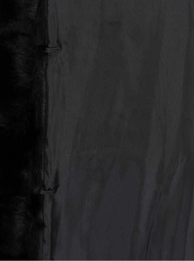 Vesta neagra din blana artificiala cu buzunare - ZOOT