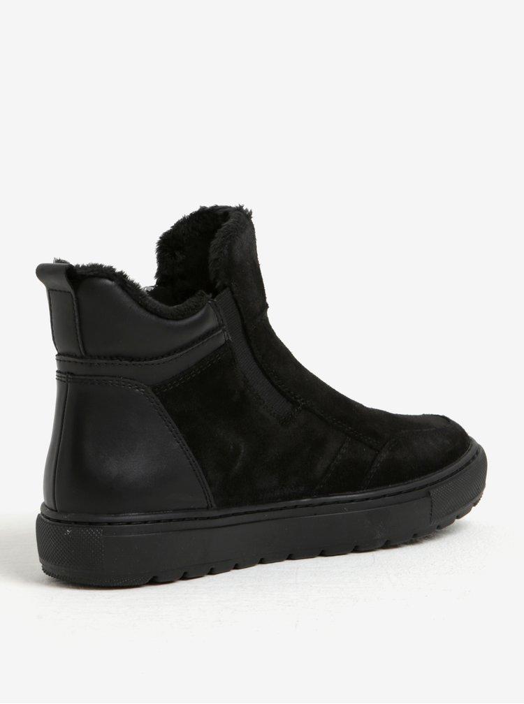 Černé dámské zimní semišové kotníkové boty Geox Breeda