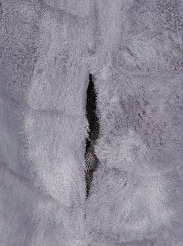 Šedá prošívaná vesta z umělé kožešiny ZOOT