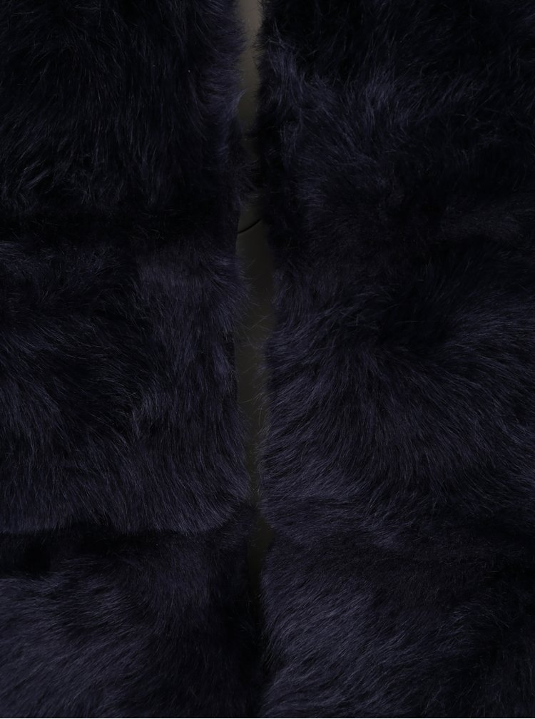 Vesta bleumarin din blana artificiala cu buzunare - ZOOT