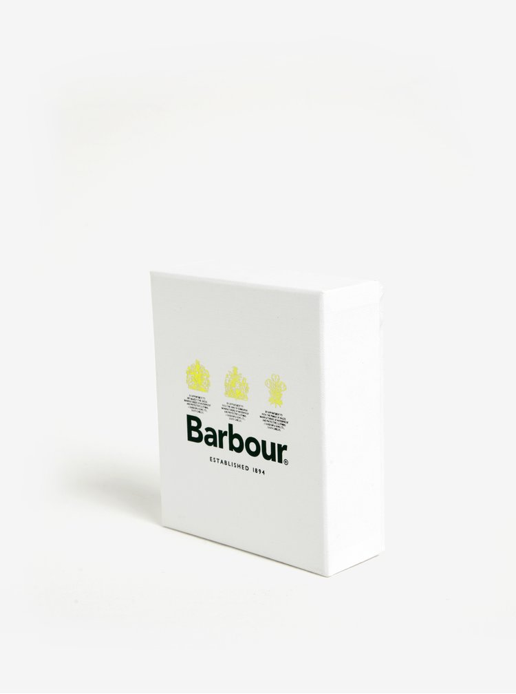 Hnědá placatka s koženým obalem Barbour Round Hip Flask