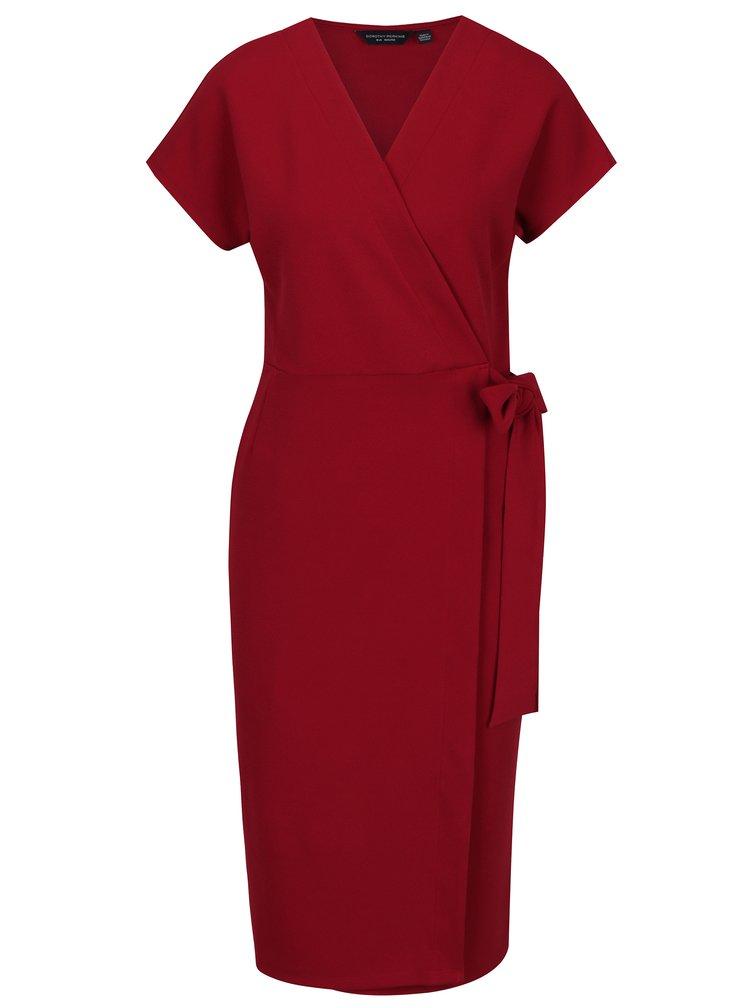 Vínové zavinovací šaty Dorothy Perkins